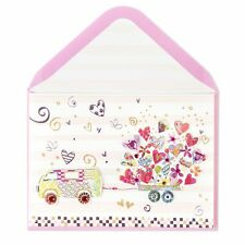 Gorgeous Van RV Pulling Hearts Trailer XOXO Valentine's Day Card  Retail $7.95