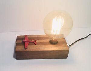 Rare Luke Hobbs Design Airplane Touch Lamp Light Wood Base Metal Airplane