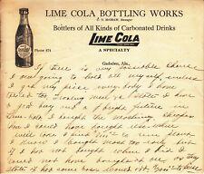 LIME COLA BOTTLING WORKS GADSDAN AL. LETTERHEAD DATE C. 1910 - 1920s