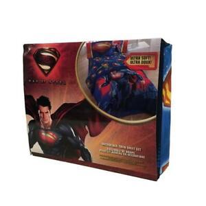 Superman Man of Steel Microfiber Twin Sheet Set Flat & Fitted Sheet Pillow Case
