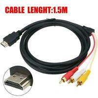 1.5M 1080p HDMI Male S-video to 3 RCA AV Audio Cable Adapter Cord Y5U0