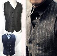 Vintage Mens Double Breasted Herringbone Wool Tweed Waistcoat Stripe Vest Gilet