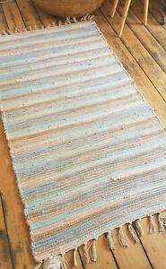 Premium Pastel shaded 75x135cm rag rug chunky cotton reversible pale blue rug