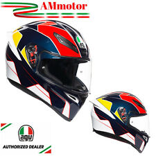 Helmet Agv K1 Pitlane Blue Red Yellow Motorcycle Full Face Sz S 55 56 Integral