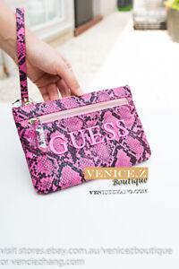 BNW GUESS Wristlet Clutch Purse Pink Fuschia Snake Print