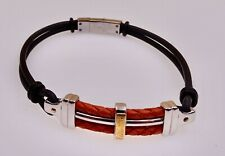Chisel Stainless Steel and 14K Leather Unisex Bracelet