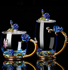 Flower Enamel Coffee Mug Cup Tea Glass Cups for Hot/Cold Water with Beauty Lid