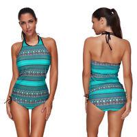 Women Two Pieces Tankini Bathing Suit Halter Push Up Swimwear Swimsuit Beachwear