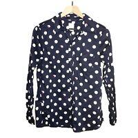 GAP Fox Print Fitted Boyfriend Button Shirt Size Medium M Blue White Polka Dot