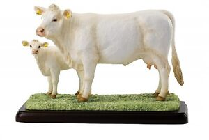New Border Fine Arts Charolais Cow & Calf Cattle Model Hand Painted Figurine