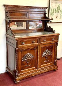 Elegant Antique Italian Walnut Marble Top Server Sideboard Cabinet Mirrors