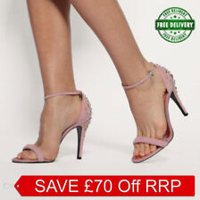 100% Leather Strappy, Ankle Straps Textured Heels for Women