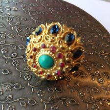 VINTAGE VENDOME SIGNED HIGH DOME SAPPHIRE RUBY & TURQUOISE RHINESTONE RING