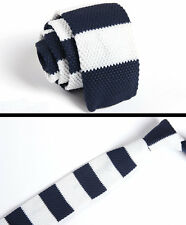Men's Navy Blue White Striped Tie Knit Knitted Necktie Slim SKINNY Woven Zzld036