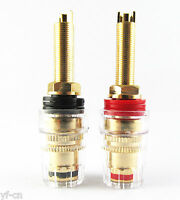 2x High Quality Copper Gold Plated Audio Speaker Cable Long 4mm Binding Post(UK)