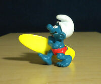 Smurfs Surfer Smurf 20137 Long Surf Board Vintage Figure Surfing Toy Figurine