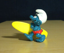 Smurfs Surfer Smurf 20137 Long Surf Board Vintage Figure Surfing Toy Figurine