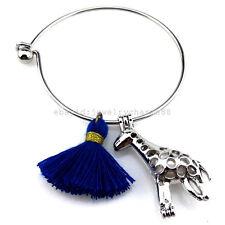 KB173 Silver Giraffe Animal Tassel Akoya Oyster Pearl Cage Stainless Bracelet