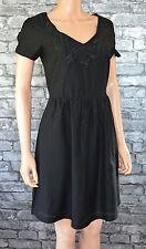Elegant Plain Black Floral Embroidered Cotton Funeral Formal Dress Uk Size 8