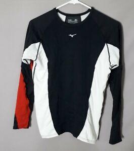 Mizuno Mens medium breath thermo Running training Shirt red & white top tech