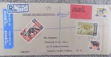 4 Kenya Stamps on Registered Air Mail Envelope Nairobi 1969 to Regent St London