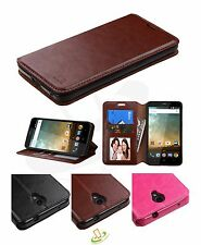 For ZTE Maven 3 Overture 3 Leather Flip Card Wallet Case Protective Cover Stand