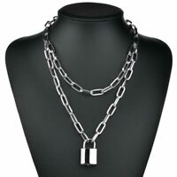 Necklace Women Layered silver Punk Key Lock Chunky Chain Jewelry Padlock Pendant