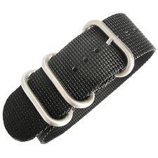 20mm deBeer Black Ballistic Nylon UTC Military Dive One-Piece Watch Band Strap