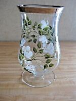 "Beautiful Hand Painted Signed Crystal Glass 9"" Flower Vase - Platinum Top Edge"