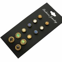 Ethnic Fashion Mini Full Drill Ear Stud Earrings 6pairs/set Round Shape Gem