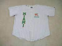 VINTAGE Miami Hurricanes Jersey Adult Extra Large Gray Green Baseball Mens 90s*