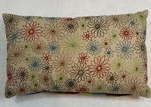 """Pier 1 One Throw Pillow 12x20"""" Garnet Embroidered Floral Stripe Lumbar Zipper"""