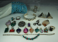 STERLING GEMSTONE JEWELRY LOT Mexico Navajo Turquoise Fluorite Malachite Lapis +
