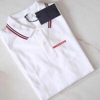 PRADA men's polo shirt black white gray short sleeve navy blue New 100% Original