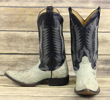 Goss Cowboy Boots Light Blue Black Leather Boys Mens Size 6 Exotic Western Shoes