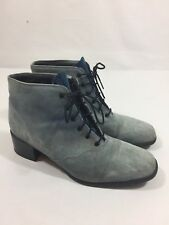 Blondo Suede Lace Up Ankle Boots Size 10.5B Blue Low Heel