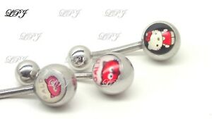 Belly Button Rings Surgical Steel Navel Ring Dangle Piercing CAT LOVERS LOGO