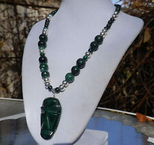 """18"""" Handmade Natural Malachite Stone Necklace with Carved Face Malachite Pendant"""