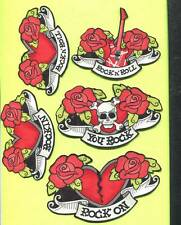 IRON ON COTTON FABRIC APPLIQUES (FAP-049); ROCK 'N ROLL HEARTS AND ROSES