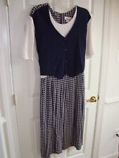 Allison-Che Black & White Checked Acetate/Rayon w/Mock Vest Dress 34W EUC MN