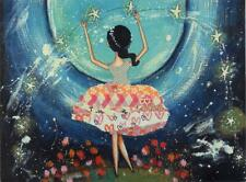 Scarce Leanin' Tree glittered card, Girl in Space, birthday, Patti Ballard