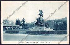 TORINO CITTÀ 477 SAVOIA MONUMENTO AMEDEO DUCA D'AOSTA Cartolina viaggiata 1937