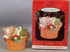 1998 ~ Cat Naps #5 - 1998 Hallmark Collector Series Ornament ~ Cat In Basket