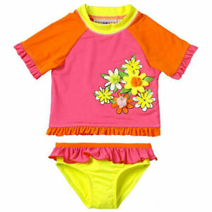 NWT Wippette Girls Pink Flower Rashguard Tankini Swimsuit Bathing Suit Set 24 M