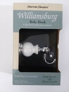 NIP Williamsburg Robe Hook American Standard Porcelain with Chrome Accents