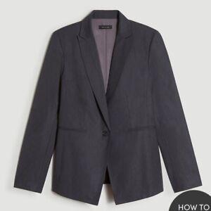 Ann Taylor Dark Gray The One Button Blazer 12P