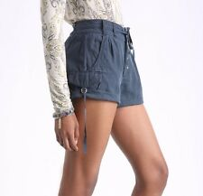 Free People Size 6 Women's Melvin Turned-Up Cuff Cotton Cargo Shorts Navy NWT