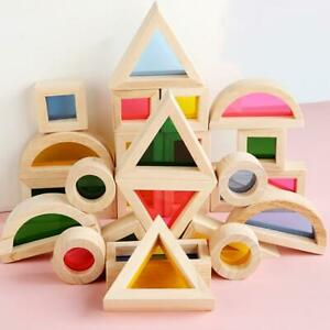Rainbow Kid's Wooden toy Soft Colorful Wooden Building Blocks Set Toy