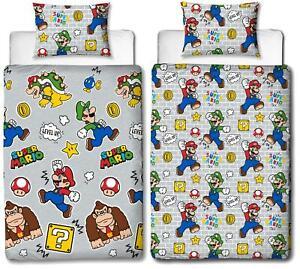 Super Mario Level Up Single Duvet Cover Reversible Bedding Set Donkey Kong