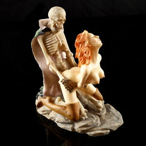 Women Ghost Sex Skeleton Skull Halloween Statue Resin Decor Sculpture Ornament